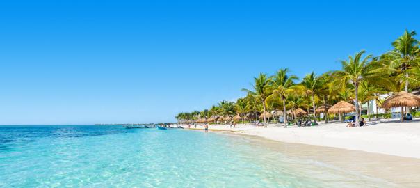 Wit strand met blauwe zee en palmbomen