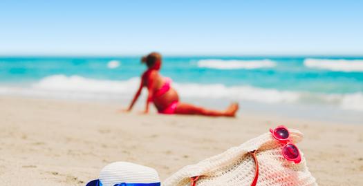 op vakantie en zwanger
