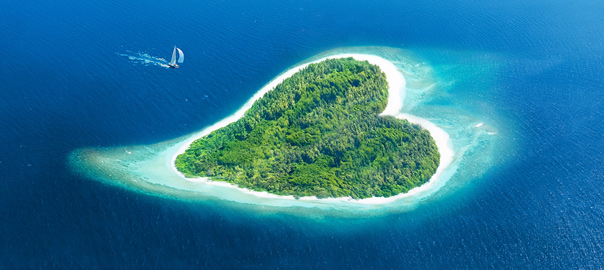 Prachtig hart eiland Malediven
