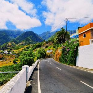 Verharde weg door de groene natuur op het eiland La Palma