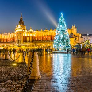 Markt in Krakau met kerst